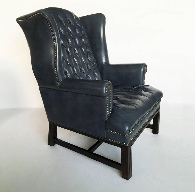 Pair Of Chesterfield Tufted Leather Wing Back Chairs For