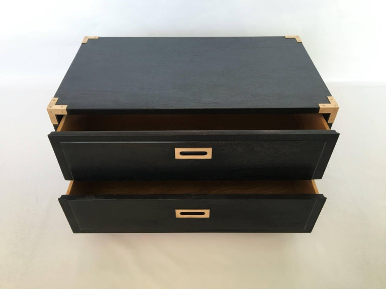 Pair of Campaign Style End Tables or Nightstands, 1970s In Excellent Condition For Sale In Dallas, TX