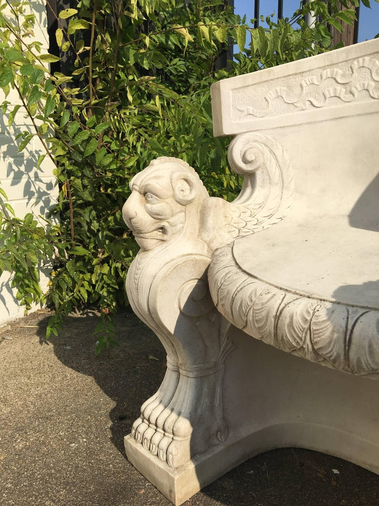 19th Century Rare Pair of Neoclassical Carved Stone Tub Chairs / Benches For Sale 2