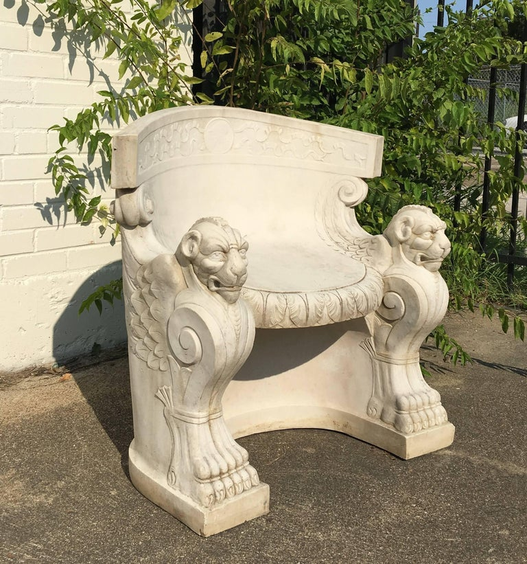 Italian 19th Century Rare Pair of Neoclassical Carved Stone Tub Chairs / Benches For Sale