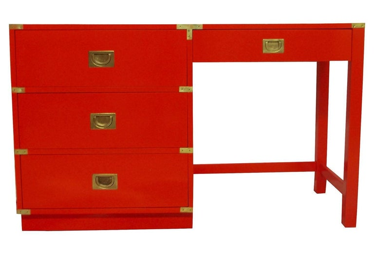 Drexel Heritage Lacquered Campaign Desk For Sale At 1stdibs