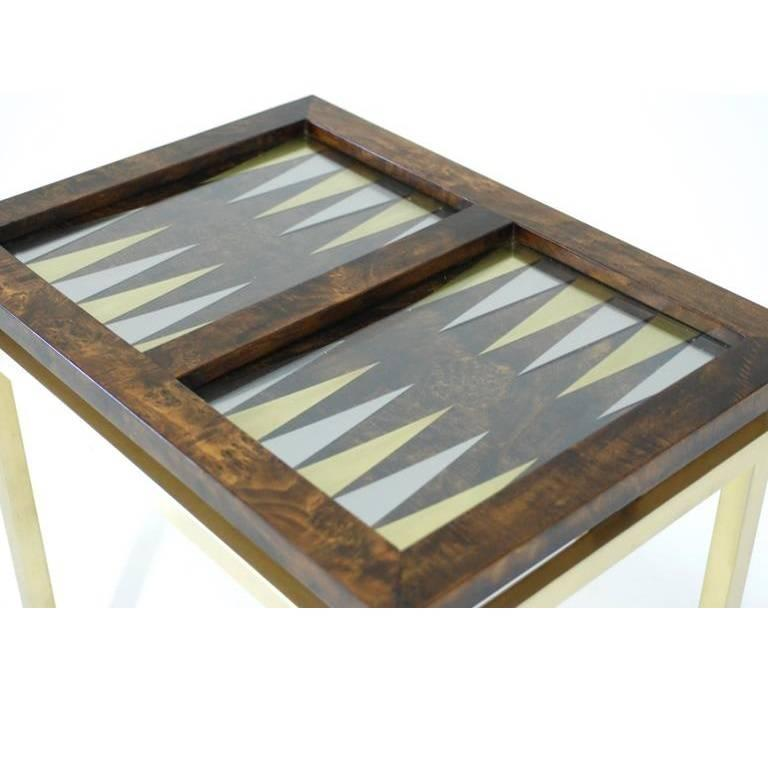 20th Century Burl Wood And Brass Backgammon Game Table For