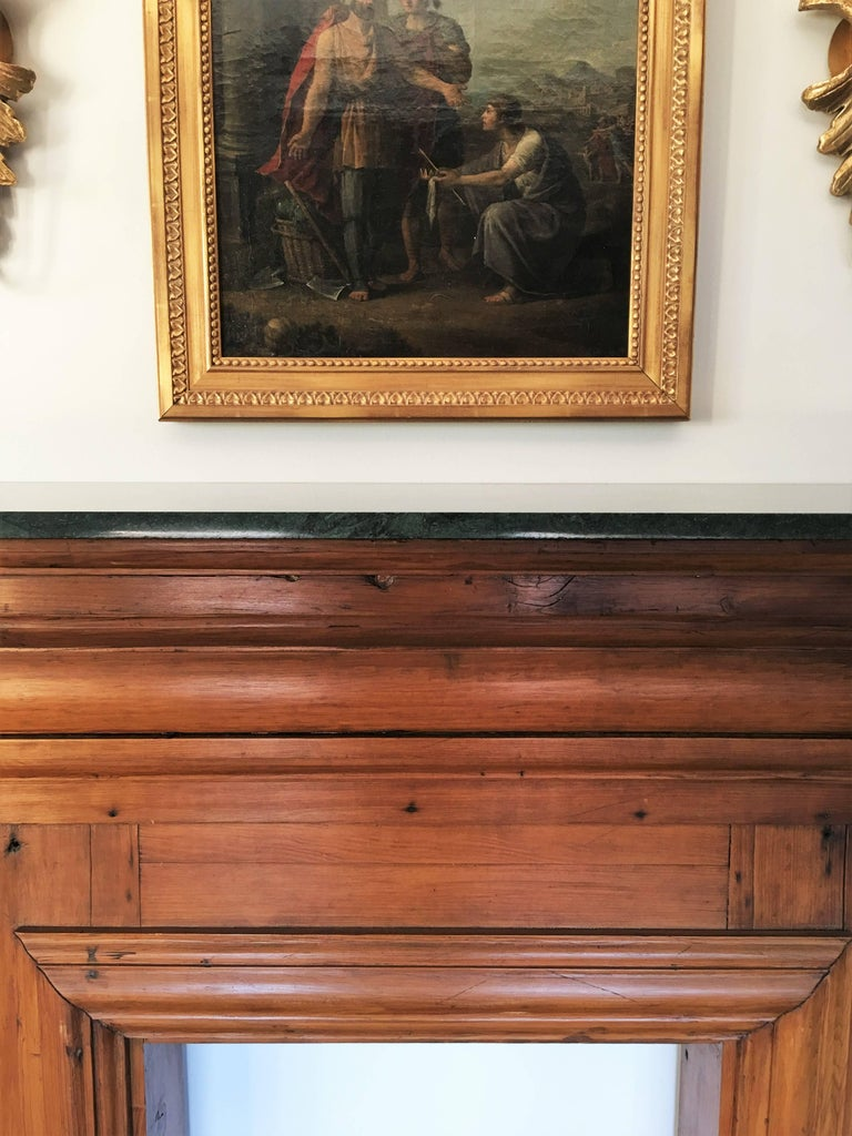Antique mahogany fireplace mantel with green marble top for Marble mantels for sale