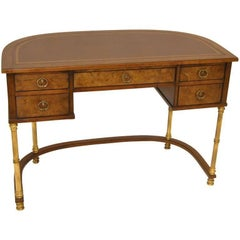 Burled, Brass and Leather Desk by Sligh