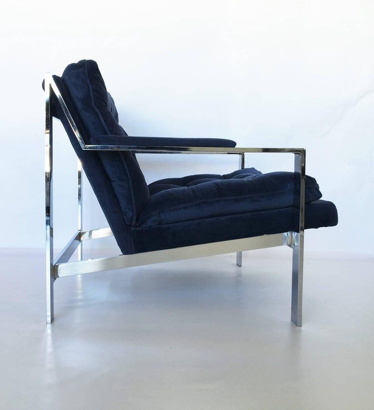 American Pair of Chrome Flat Bar Lounge Chairs by Cy Mann For Sale