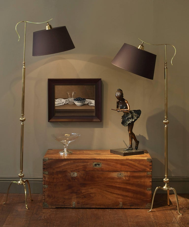 Pair Of Adjustable Brass Overhanging Reading Lamps For