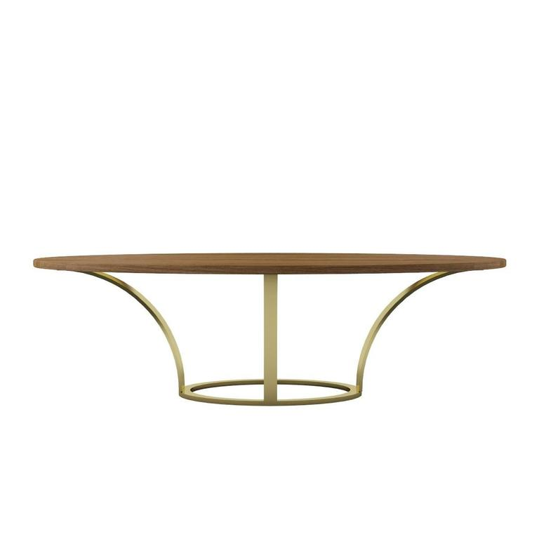 Modern Dining Table, Oval Walnut Finishing and Steel Base with Brass Finishing