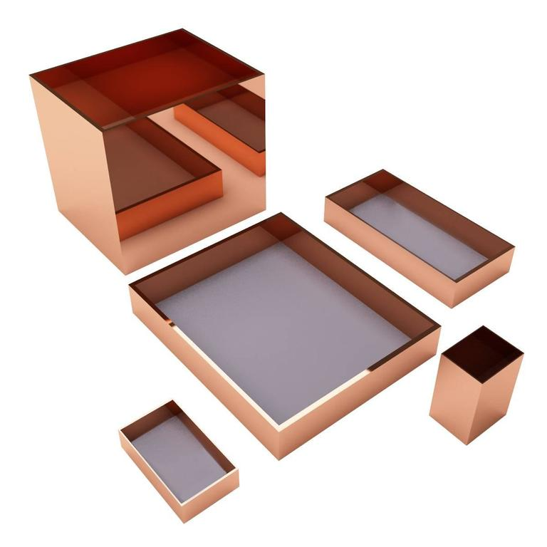 Elegant Modern Luxury Office Accessories Set Incl. Trays, Pencil Holder, Paper  Basket For Sale