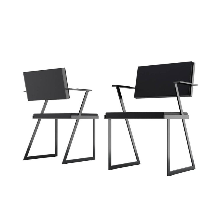 Powder-Coated Modern Geometric Armchair