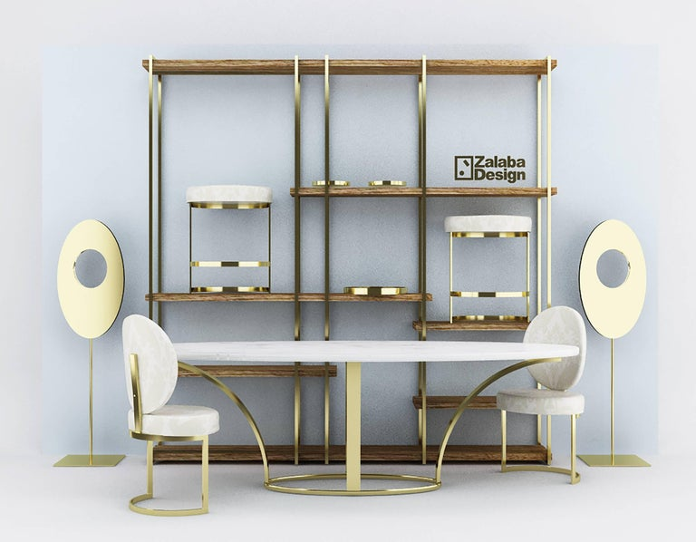 ZULU shelve with steel plated brass fittings and oak shelves  Look carefully and you'll see that the letters Z and L form the skeleton of each piece, serving as prominent structural catalysts in the creation of each chair and table. Taken in