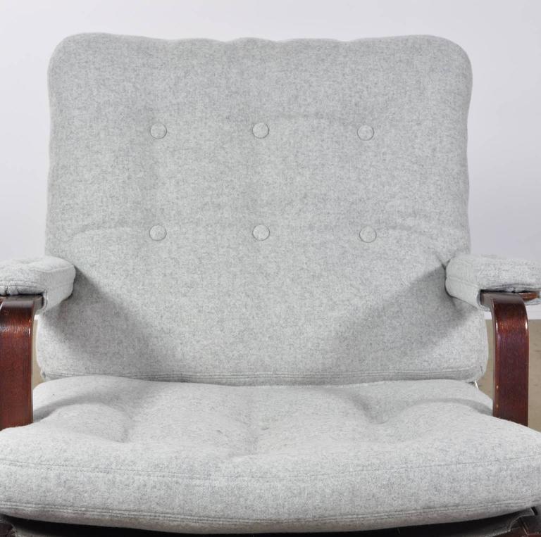 Bruno Mathsson Ingrid Chair In Grey Woolen Felt Fabric