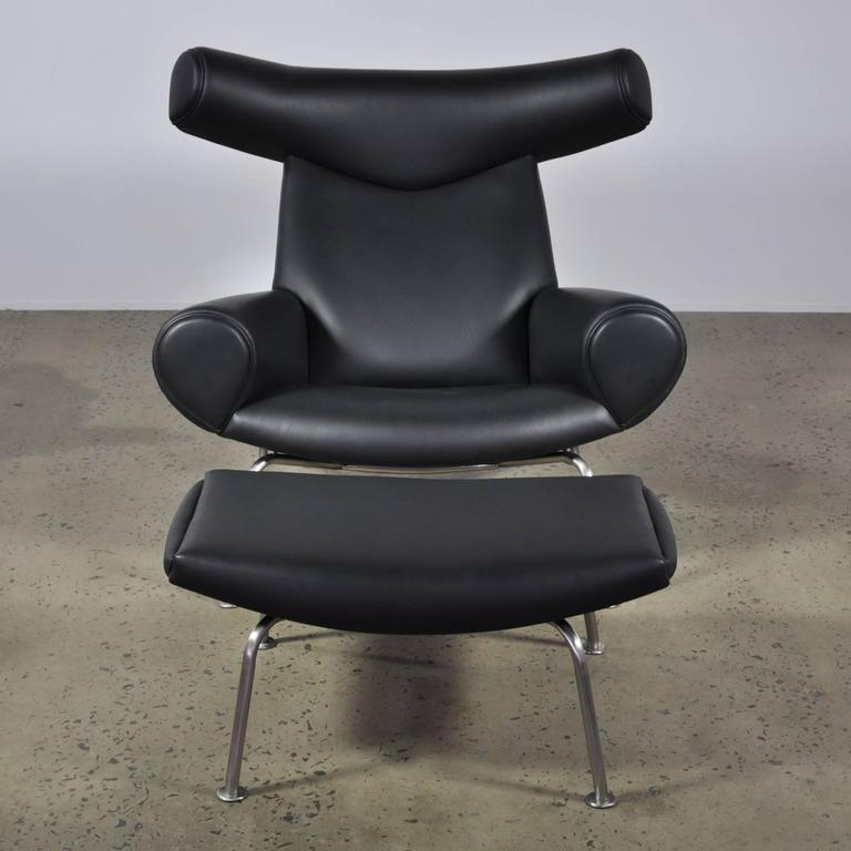 Vintage Black Leather Hans Wegner Ox Chair And Ottoman For A P Stolen For Sal