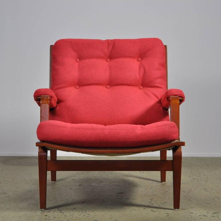 Scandinavian Modern Red Bruno Mathsson Ingrid Chair in Woollen Felt Fabric Made by DUX For Sale