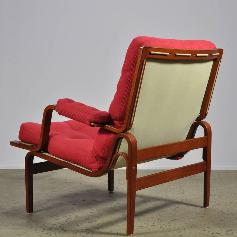 Red Bruno Mathsson Ingrid Chair in Woollen Felt Fabric Made by DUX In Excellent Condition For Sale In North Wollongong, AU