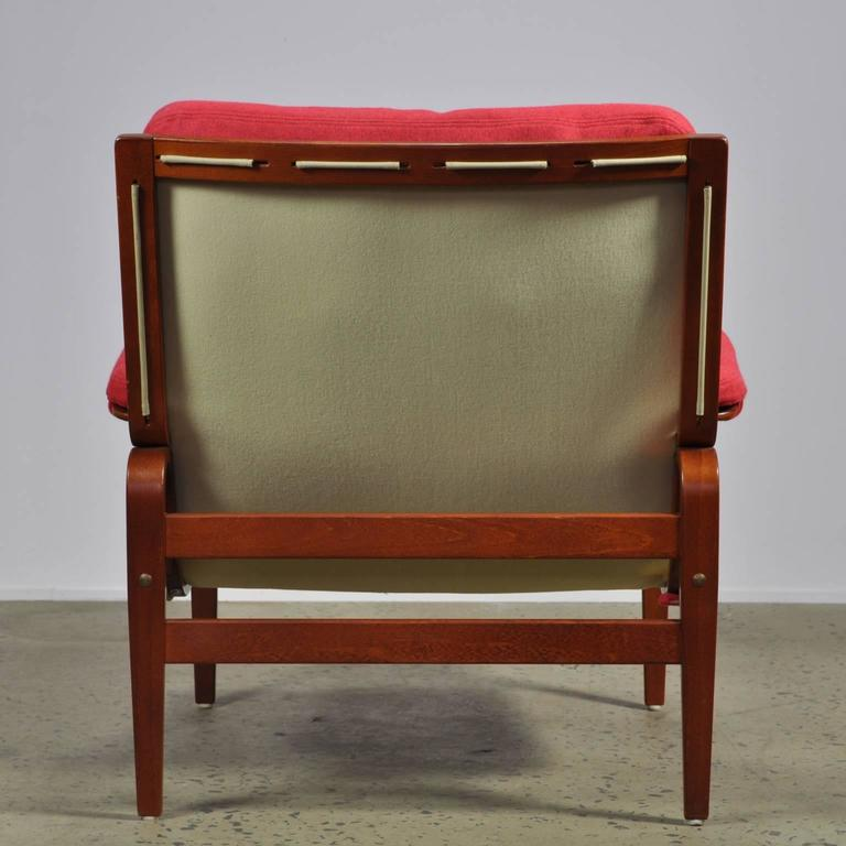 Swedish Red Bruno Mathsson Ingrid Chair in Woollen Felt Fabric Made by DUX For Sale