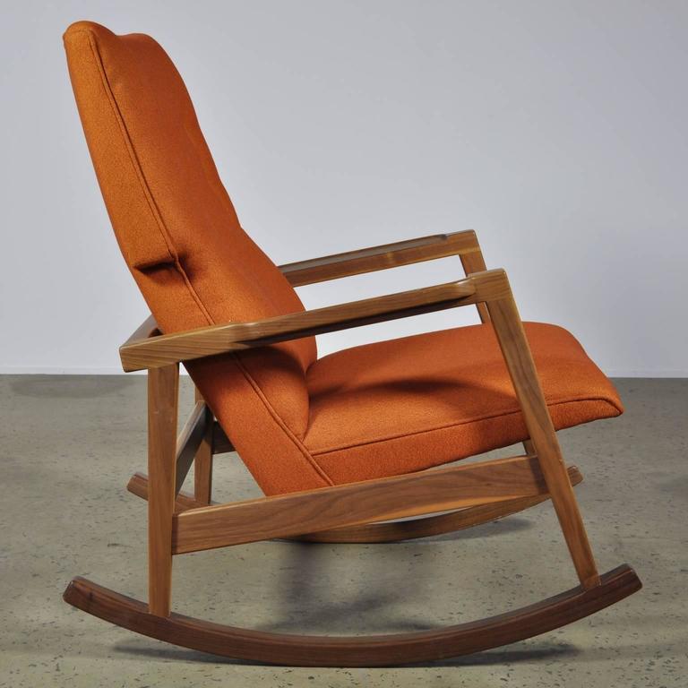 Scandinavian Modern Walnut With Wool Fabric Jens Risom Rocker Chair For DWR  For Sale