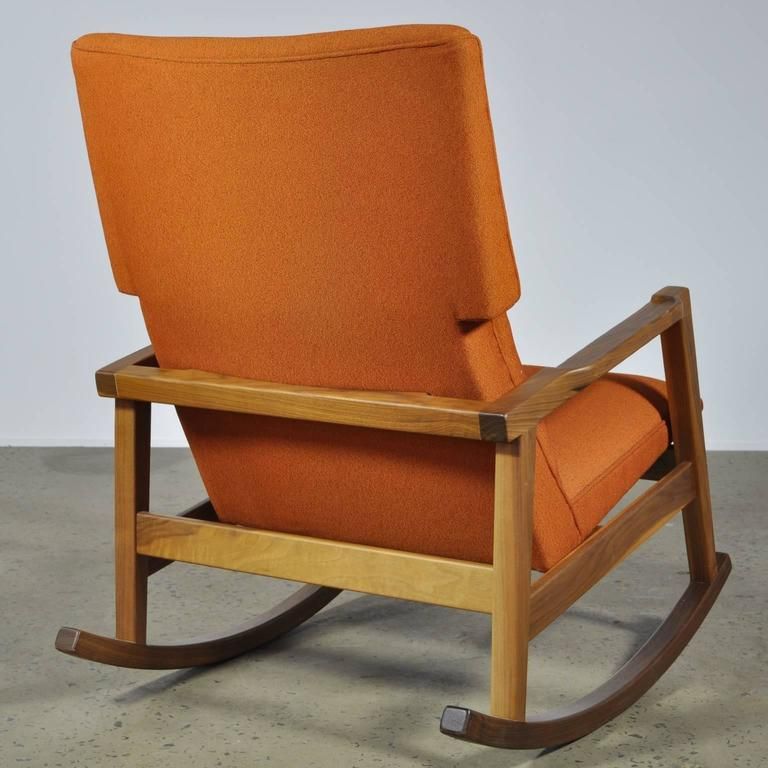 Walnut With Wool Fabric Jens Risom Rocker Chair For Dwr At