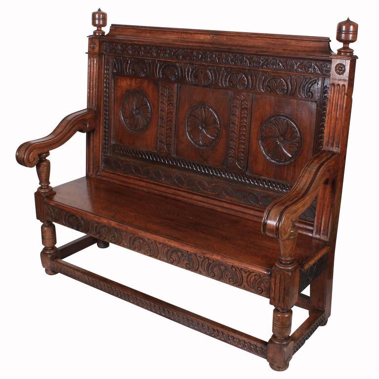 Carved solid oak hall bench for sale at stdibs