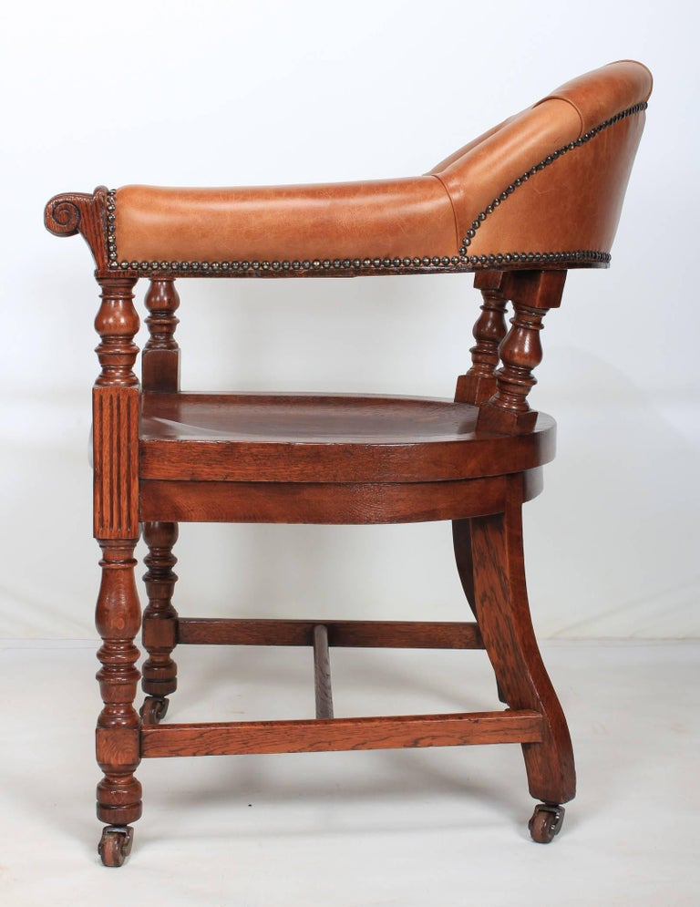 leather library chairs for sale pair of oak and leather library captains desk chairs for 16646 | IMG 8992 master