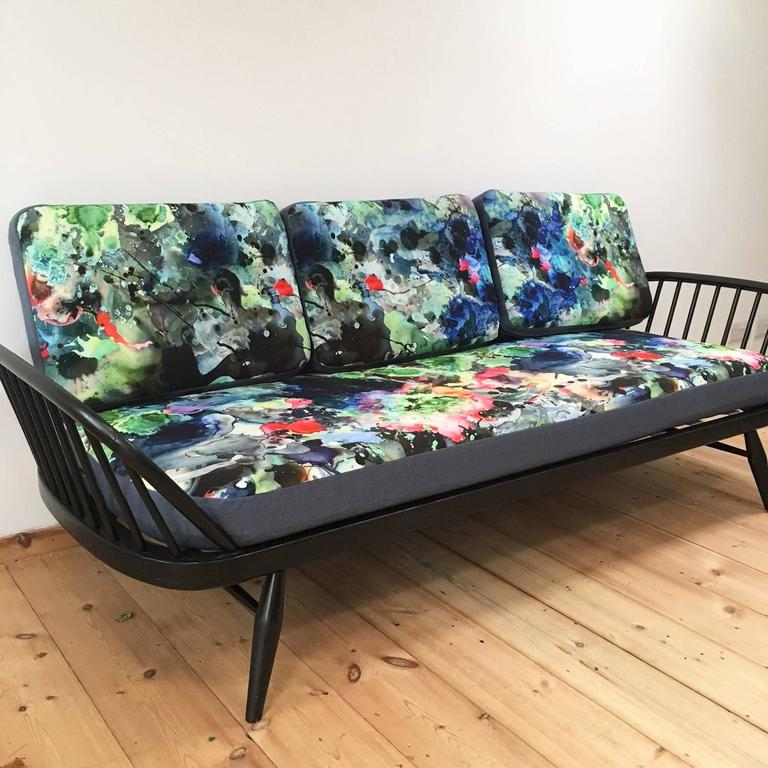 Mid-20th Century Ercol Studio Couch with Timorous Beasties Print Upholstery 3