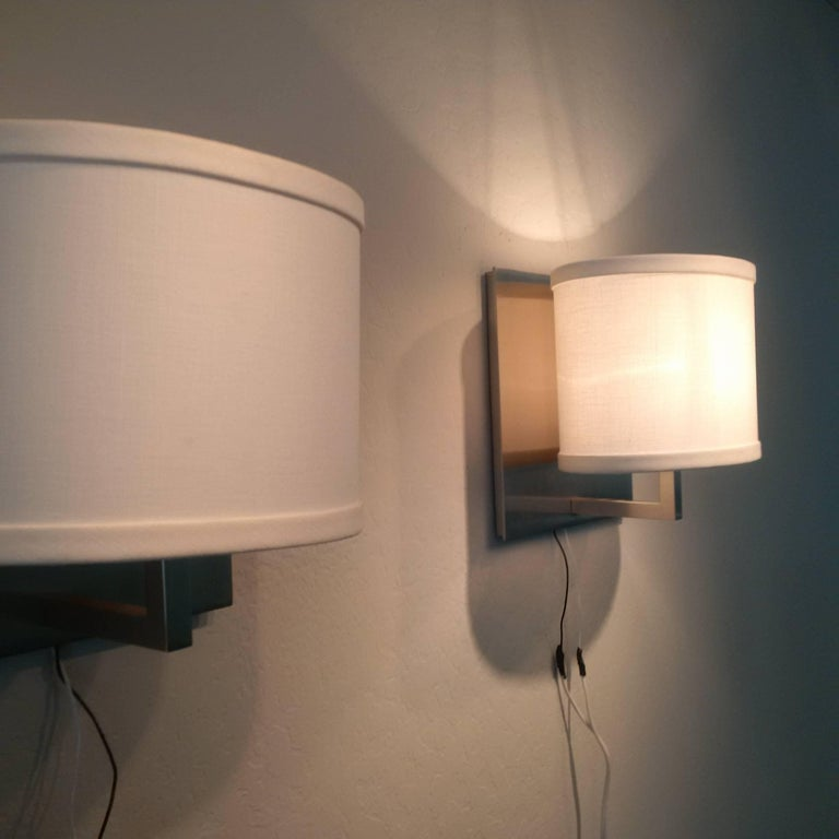 Wall Sconces With Linen Shades : Satin Nickel Boyd Wall Sconces with Oval Linen Shades For Sale at 1stdibs