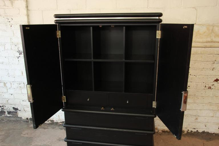 Jay Spectre for Century Furniture Cerused Oak and Chrome Armoire In Excellent Condition For Sale In South Bend, IN