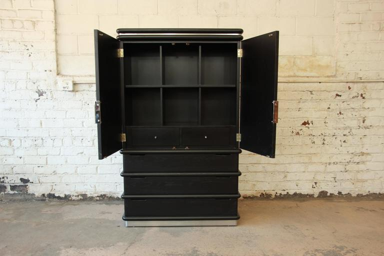 North American Jay Spectre for Century Furniture Cerused Oak and Chrome Armoire For Sale
