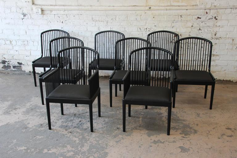 Offering An Exceptional Set Of Eight Andover Black Lacquered Spindle Dining  Chairs. The Chairs Were