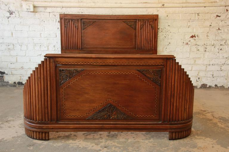 1930s French Art Deco Carved And Inlaid Walnut Full Size