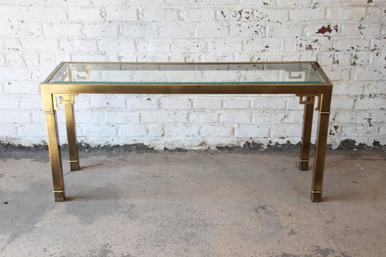 Gorgeous Brass Console Table With Greek Key Accents By Mastercraft Furniture.  The Piece Has A