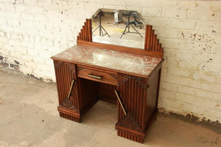 Exceptional 1930s French Art Deco Marble Top Vanity. The Vanity Features  Gorgeous Hand