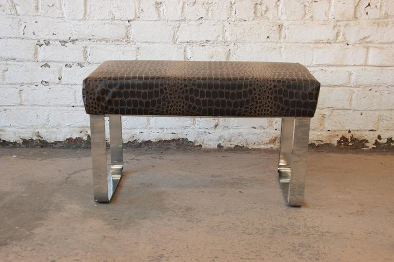 Chrome and Leather Modernist Bench in the Style of Milo Baughman 2