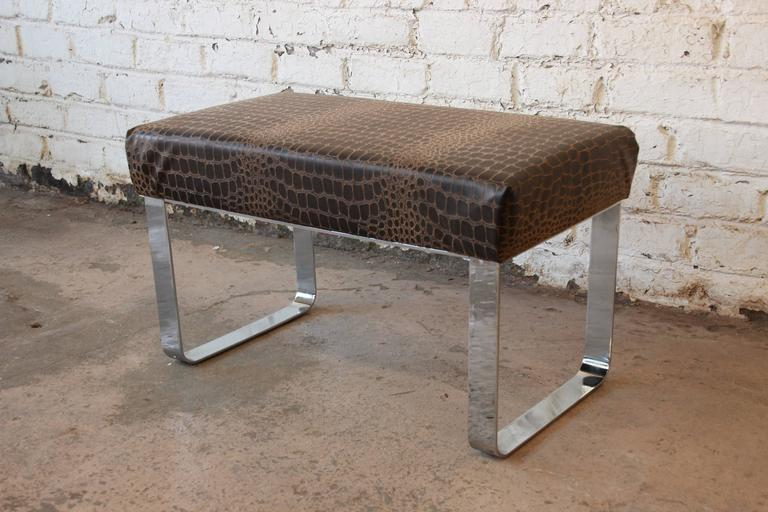 Chrome and Leather Modernist Bench in the Style of Milo Baughman 4
