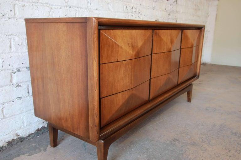 Vladimir Kagan Style Diamond Front Walnut Long Dresser By