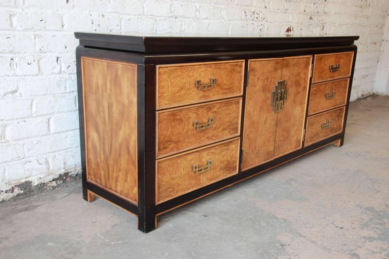 Century Furniture Burl Wood and Black Lacquer Chin Hua ...