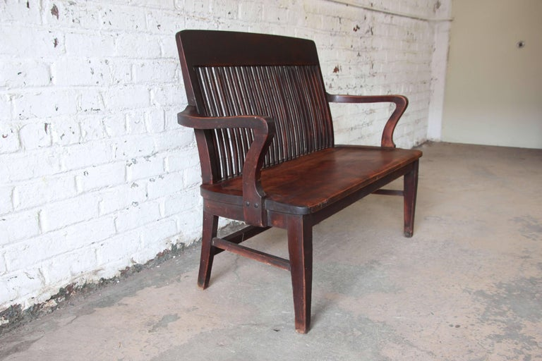 Antique Mahogany Banker 39 S Bench By Milwaukee Chair Company Circa 1900 For Sale At 1stdibs