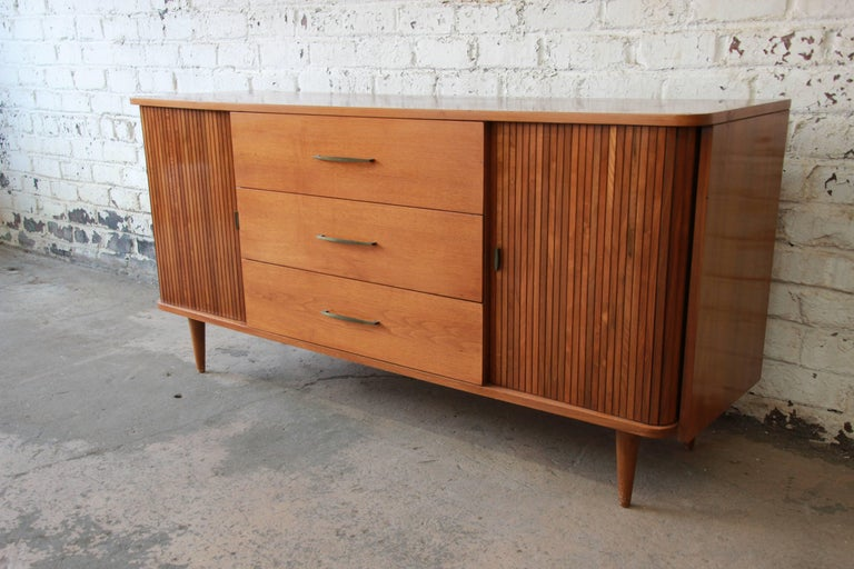 Mid Century Modern Tambour Door Sideboard Credenza with Glass Front Hutch Top at 1stdibs