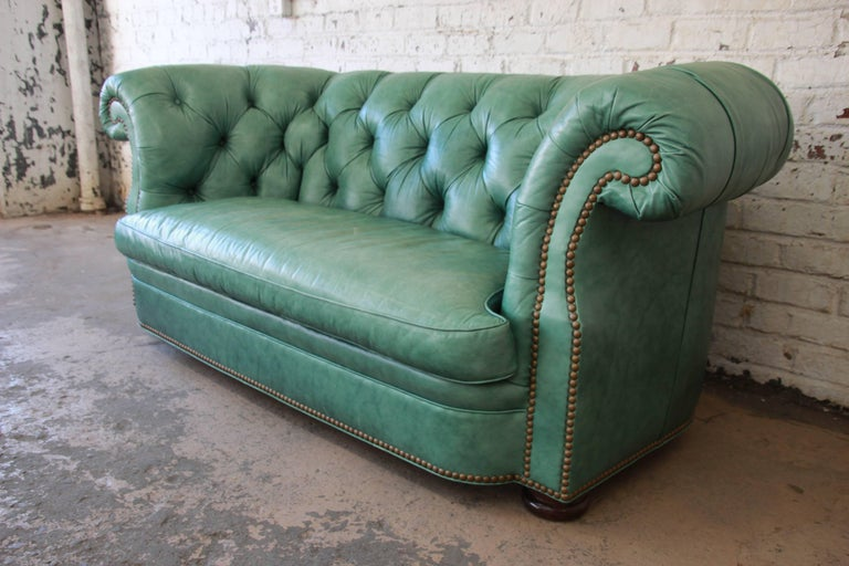 20th Century Vintage Teal Tufted Leather Chesterfield Sofa By Han Moore For