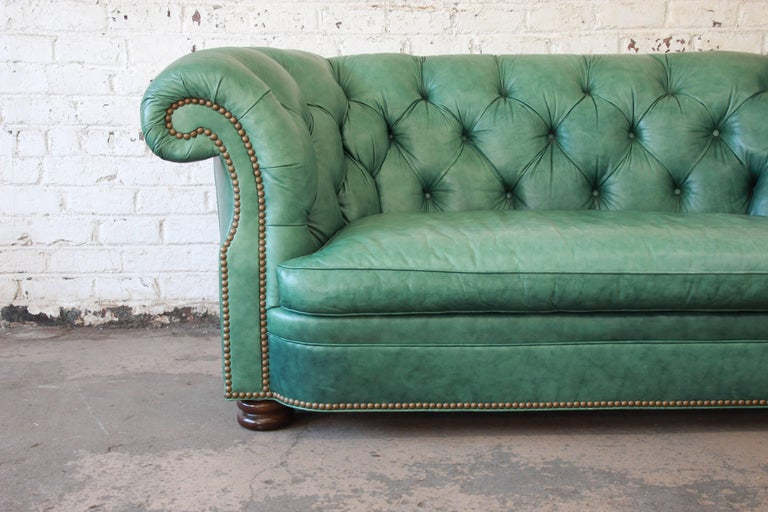 Vintage Teal Tufted Leather Chesterfield Sofa By Hancock And Moore - Hancock and moore leather sofa prices