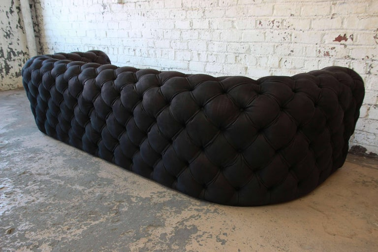 Italian tufted black leather chester moon sofa by paola for Baxter paola navone