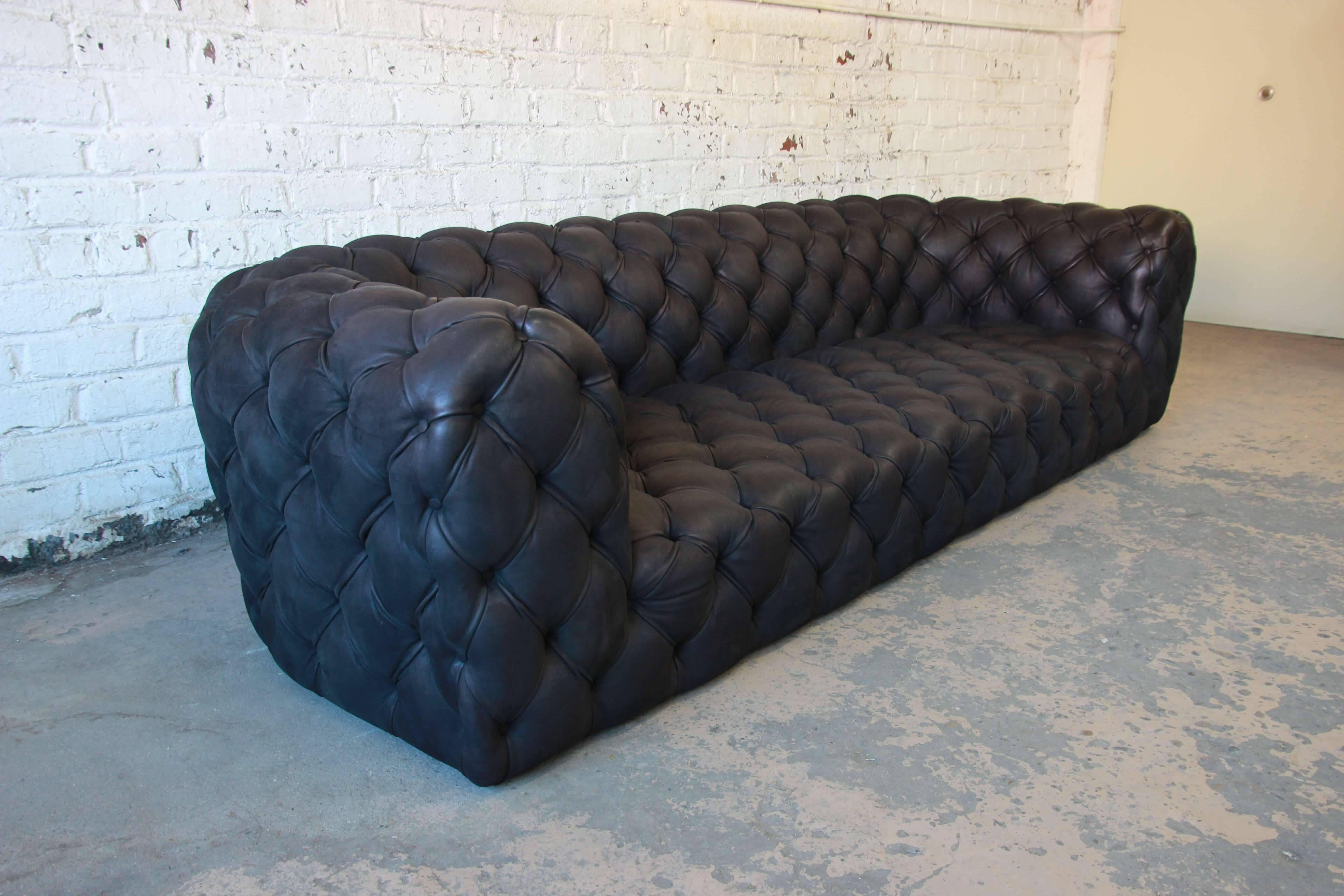 Italian Tufted Black Leather Chester Moon Sofa By Paola Navone For Baxter