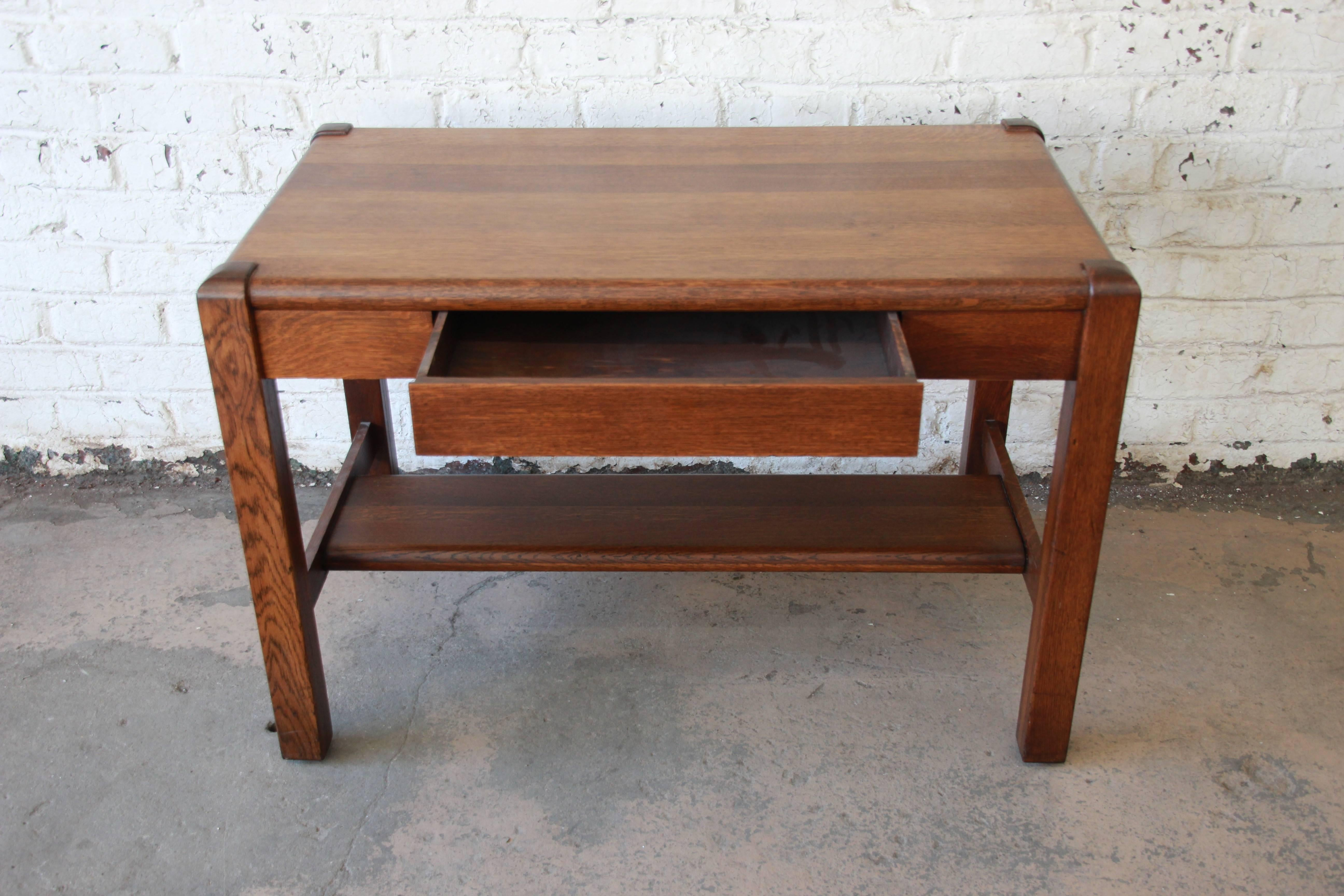 Antique American Arts And Crafts Period Mission Oak Desk Circa 1900 At 1stdibs
