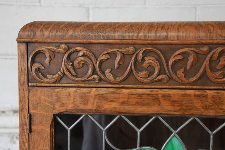Early 20th Century Antique Carved Oak Bookcase with Leaded Stained Glass Doors, circa 1900 For Sale