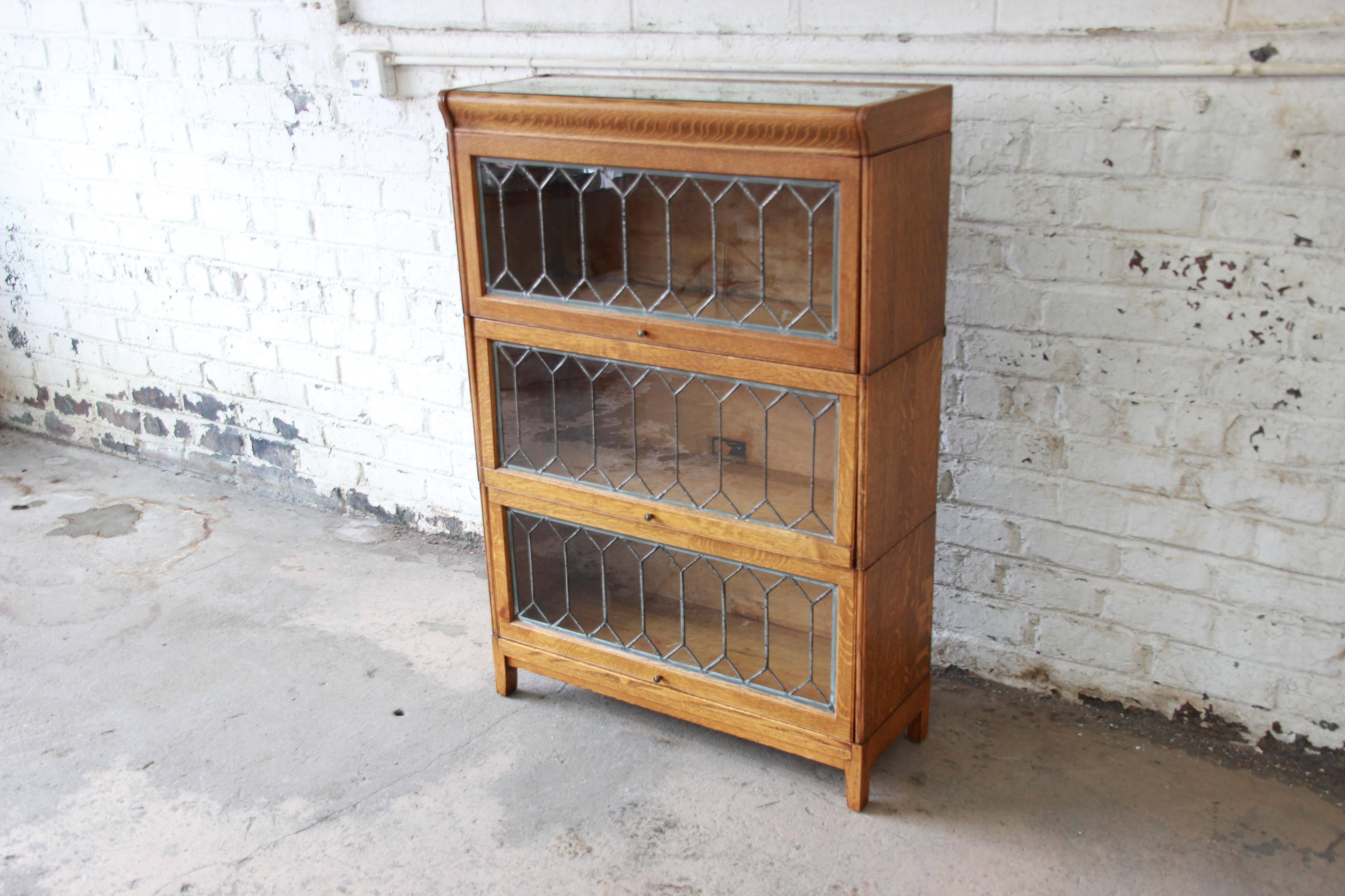 Antique Tiger Oak Three Stack Barrister Bookcase With Leaded