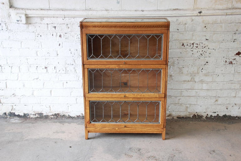 Arts and Crafts Antique Tiger Oak Three-Stack Barrister Bookcase with  Leaded Glass Doors For - Antique Tiger Oak Three-Stack Barrister Bookcase With Leaded Glass