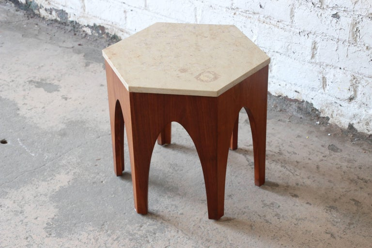 American Harvey Probber Mid-Century Modern Walnut and Travertine Hexagonal Side Table For Sale