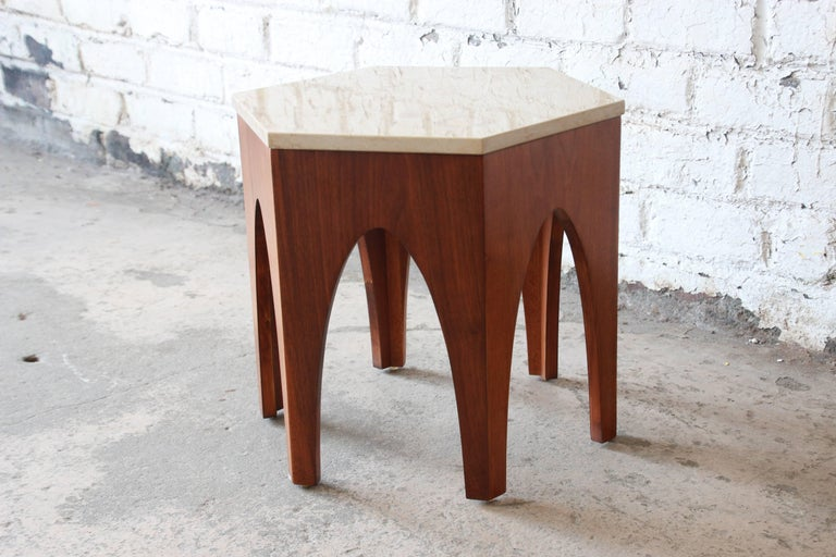Harvey Probber Mid-Century Modern Walnut and Travertine Hexagonal Side Table In Good Condition For Sale In South Bend, IN
