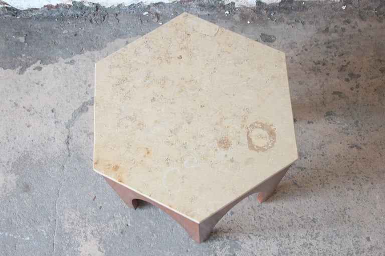 Mid-20th Century Harvey Probber Mid-Century Modern Walnut and Travertine Hexagonal Side Table For Sale
