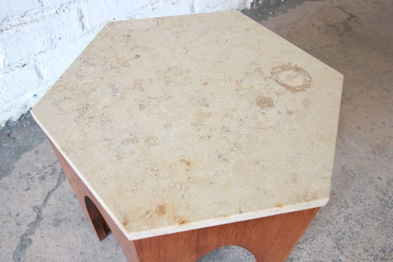 Harvey Probber Mid-Century Modern Walnut and Travertine Hexagonal Side Table For Sale 1