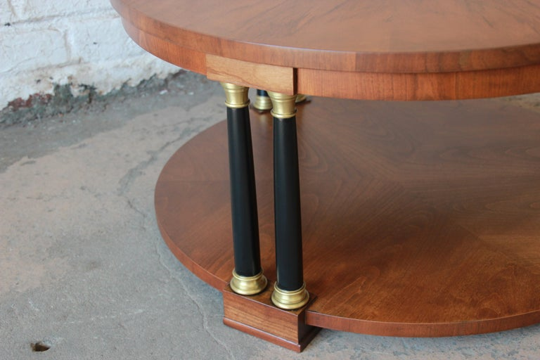 Brass Baker Furniture Round Neoclassical Coffee Table For Sale
